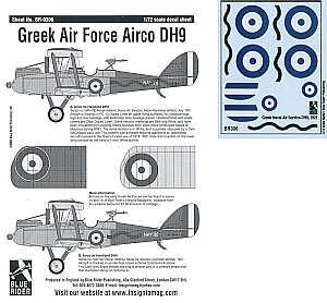 Blue Rider 1/72 Airco DH.9 in Greek Air Force Service # 306