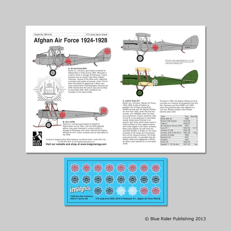 Blue Rider Decals 1/72 Afghan Air Force 1924-1928 # 418