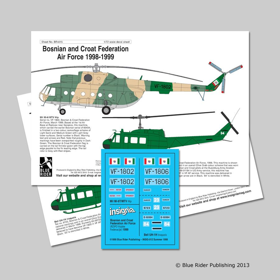 Blue Rider Decals 1/72 Bosnian and Croat Federation Air Force 1998-99 # 815