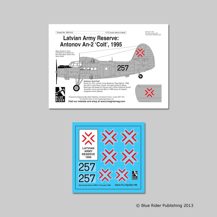 Blue Rider Decals 1/72 Latvian Army Reserve 1995 # 810