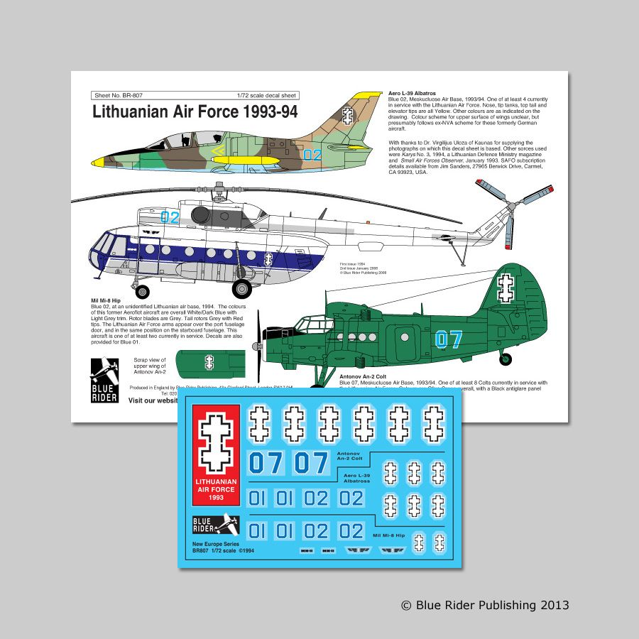 Blue Rider Decals 1/72 Lithuanian Air Force 1993-94 # 807