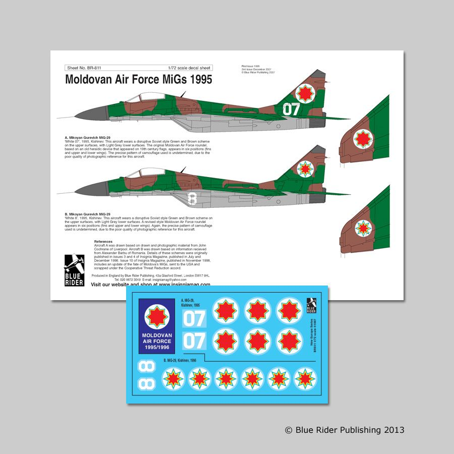 Blue Rider Decals 1/72 Mikoyan MiG-29 Moldovan Air Force # 811