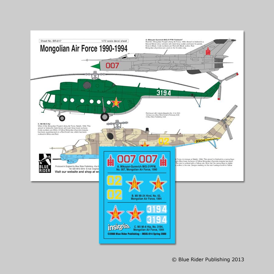 Blue Rider Decals 1/72 Mongolian Air Force 1990-94 # 817
