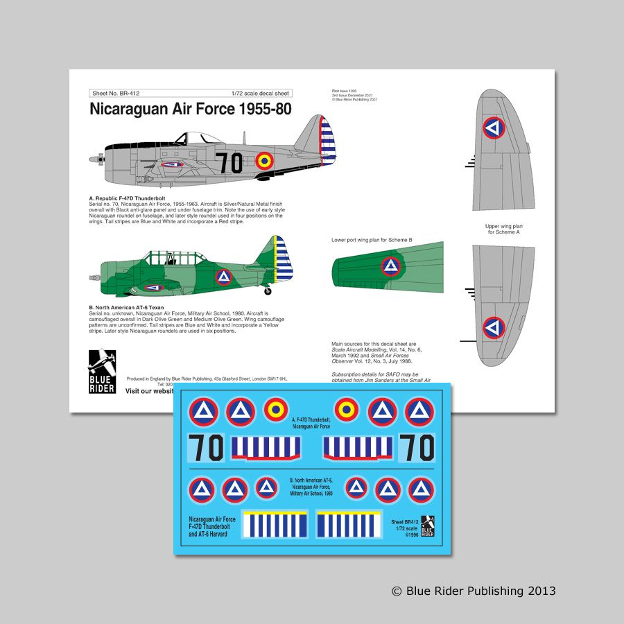 Blue Rider Decals 1/72 Nicaraguan Air Force 1955-80 # 412