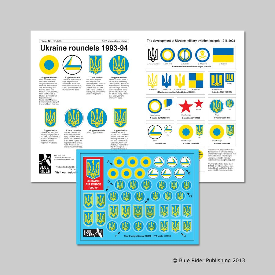 Blue Rider Decals 1/72 Ukrainian Air Force 1992-94 # 808