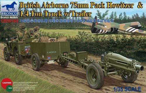 Bronco 1/35 British Airborne 75mm Pack Howitzer & 1/4 ton Truck with Trailer # CB35163