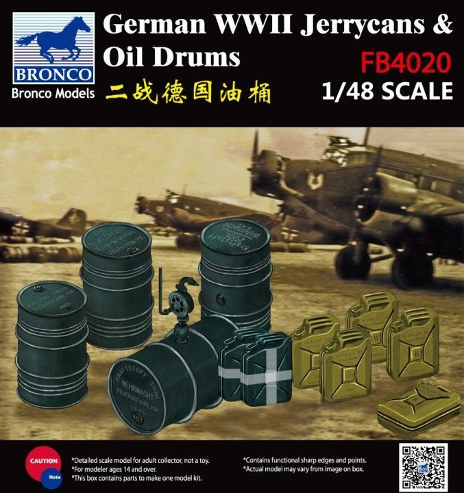 Bronco 1/48 WWII German Jerry Can & Fuel Drum # FB4020