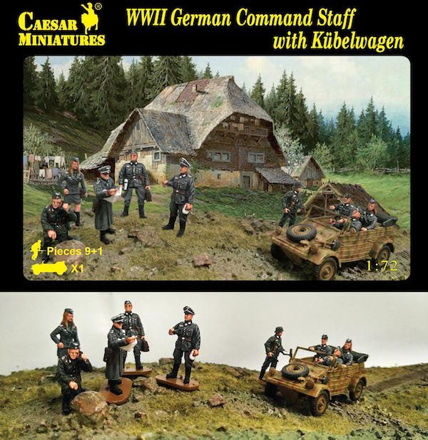 Caesar Miniatures 1/72 German Command Staff with Kubelwagen # 095