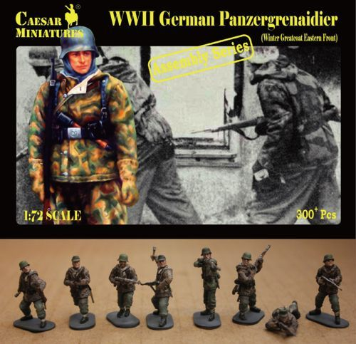 Caesar Miniatures 1/72 WWII German Panzergrenaidier (Winter Greatcoat Eastern Front) # 7214