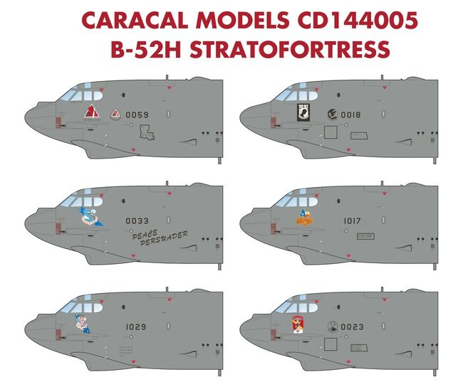 Caracal Decals 1/144 Boeing B-52H Stratofortress # 144005
