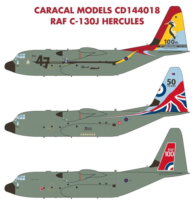 Caracal Decals 1/144 RAF Lockheed C-130J Hercules # 144018