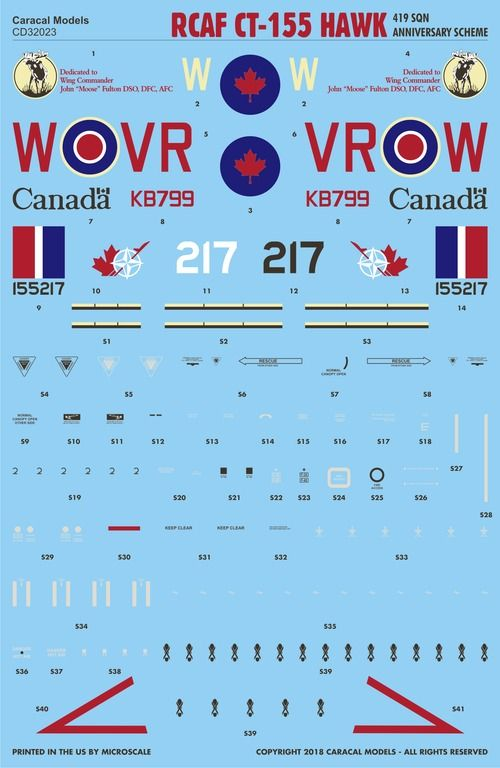 "Caracal Decals 1/32 Royal Canadian Air Force CT-155 Hawk ""419 Sqn"" # 32023"