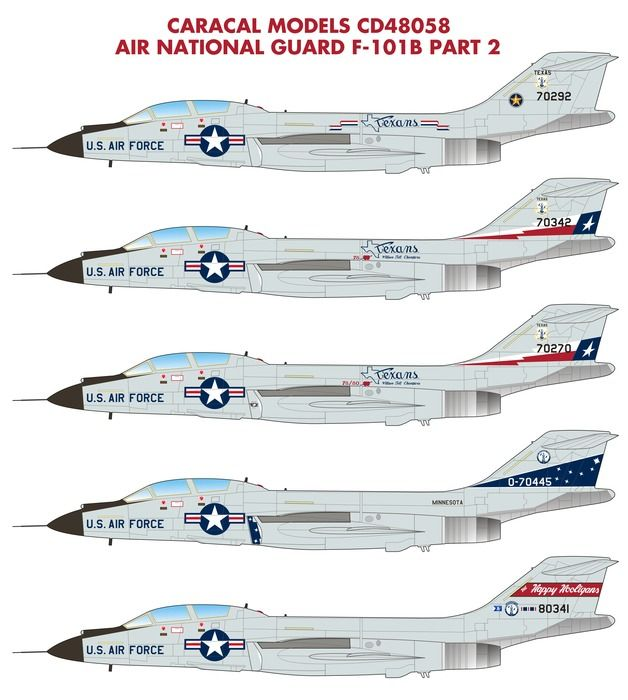 Caracal Decals 1/48 Air National Guard McDonnell F-101B Voodoo - Part 2 # 48058