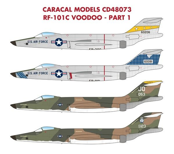 Caracal Decals 1/48 USAF McDonnell RF-101C Voodoo # 48073