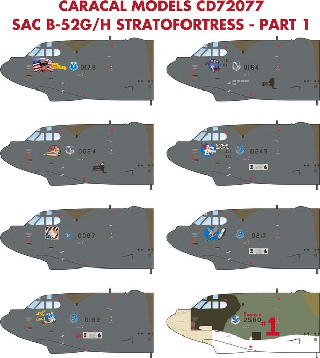 Caracal Decals 1/72 Boeing Strategic Air Command B-52G/H Stratofortress Part 1 # 72077