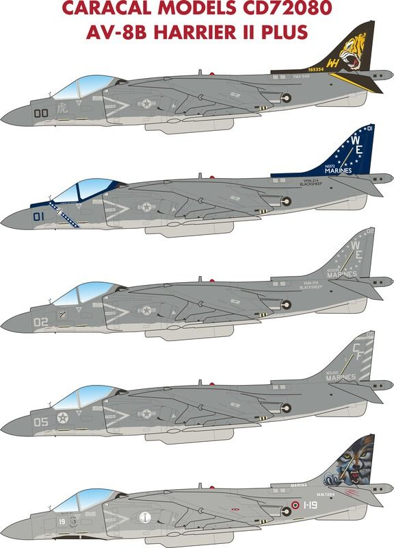 Caracal Decals 1/72 McDonnell-Douglas AV-8B Harrier II Plus # 72080