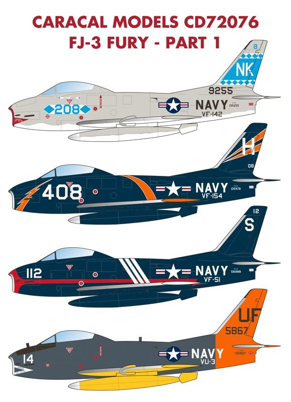 Caracal Decals 1/72 North-American FJ-3 Fury US Navy - Part 1 # 72076