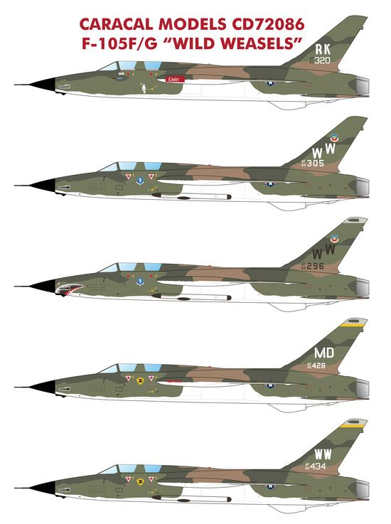 "Caracal Decals 1/72 Republic F-105F/F-105G ""Wild Weasels"" # 72086"