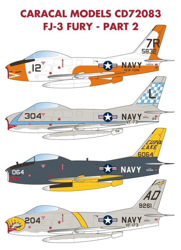 Caracal Decals 1/72 US Navy North-American FJ-3 Fury - Part 2 # 72083