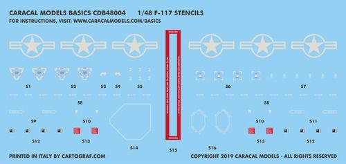 Caracal Decals Basics 1/48 Lockheed F-117A Nighthawk Stencils # B48004