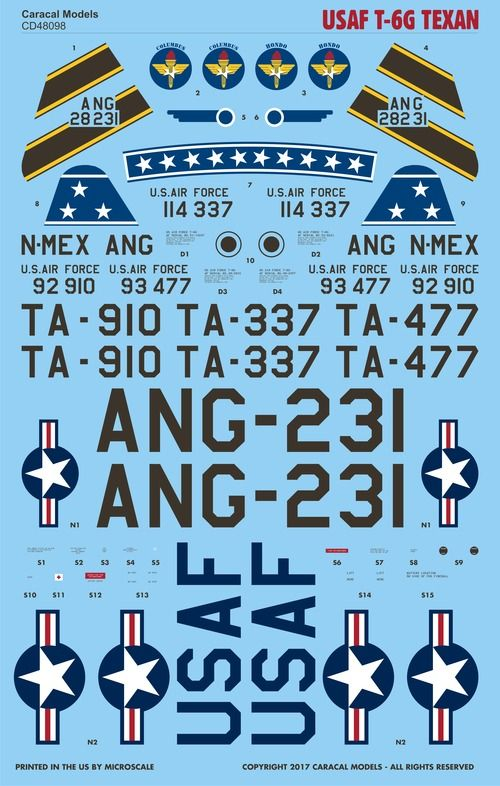 Caracal Models 1/48 USAF North-American T-6G Texan # 48098