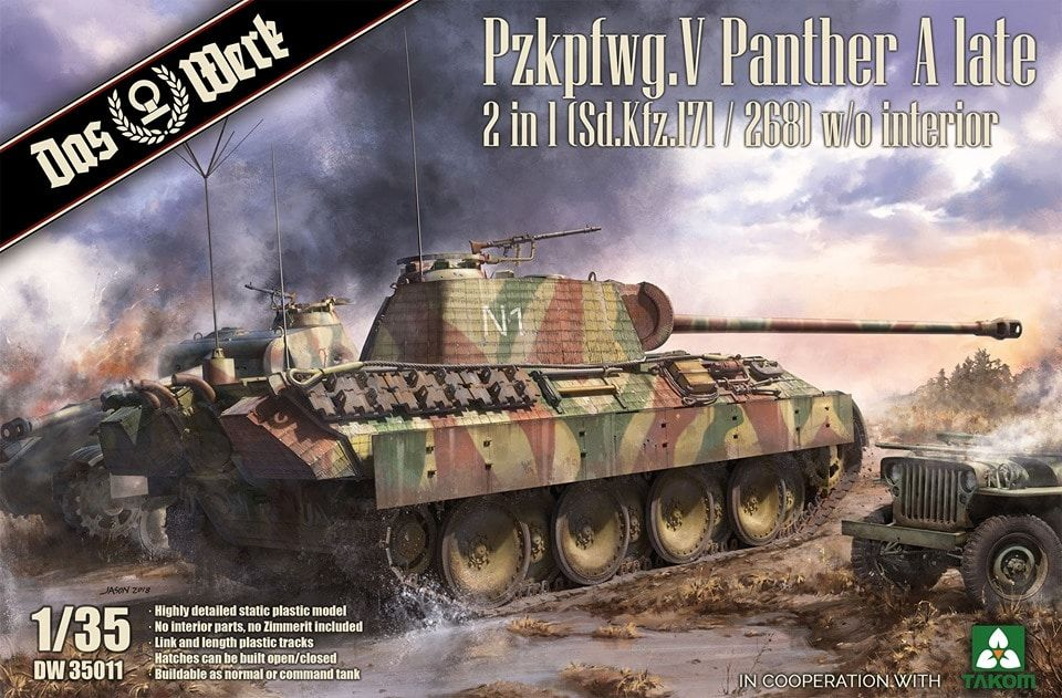 Das Werk 1/35 Pz.Kpfw.V Ausf.A (Late) Panther 2 in 1 (Sd.Kfz.171/268) without Interior # DW35011