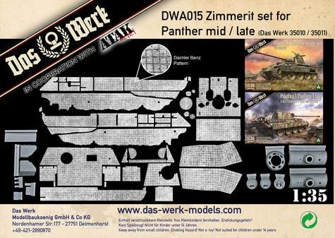 Das Werk 1/35 Zimmerit Set for Panther Pz.Kpfw.V Ausf.A (Mid/Late) # DWA015
