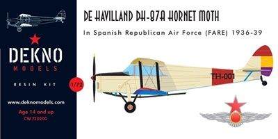 Dekno 1/72 De Havilland DH-87A Hornet Moth in the Spanish Civil War # CW720200