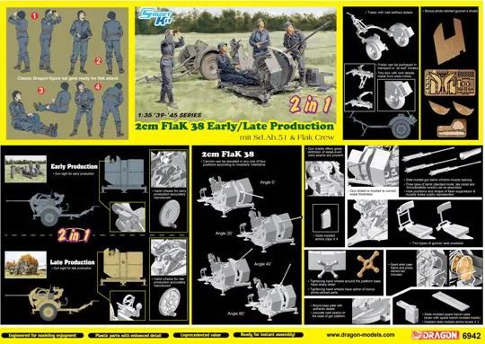 Dragon 1/35 2cm FlaK 38 Early/Late Production mit Sd.Ah.51 & Flak Crew (2 in 1) # 6942