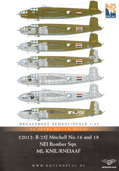 Dutch Decal 1/32 North-American B-25J Mitchell (Strafer) No.16 & 18 Sqn. RNEIAAF # 32012