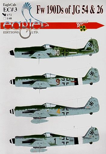Eagle Cal 1/48 Focke Wulf Fw 190D-9 of JG54 and JG26 # 48003