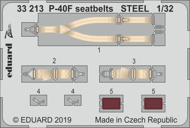 Eduard 1/32 Curtiss P-40F Warhawk Seatbelts STEEL Zoom Set # 33213