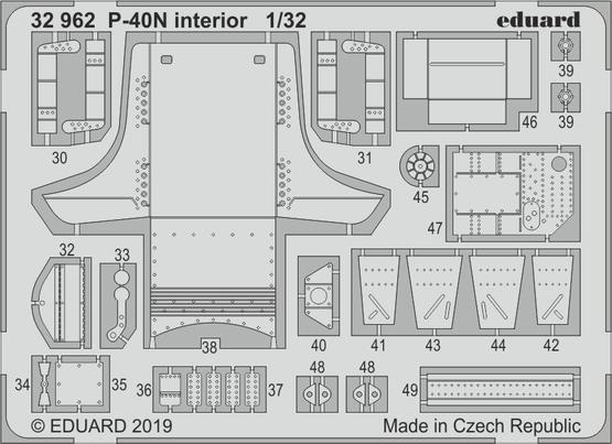 Eduard 1/32 Curtiss P-40N Kittyhawk Interior # 32962