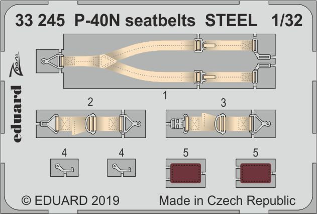 Eduard 1/32 Curtiss P-40N Kittyhawk Seatbelts STEEL Zoom Set # 33245