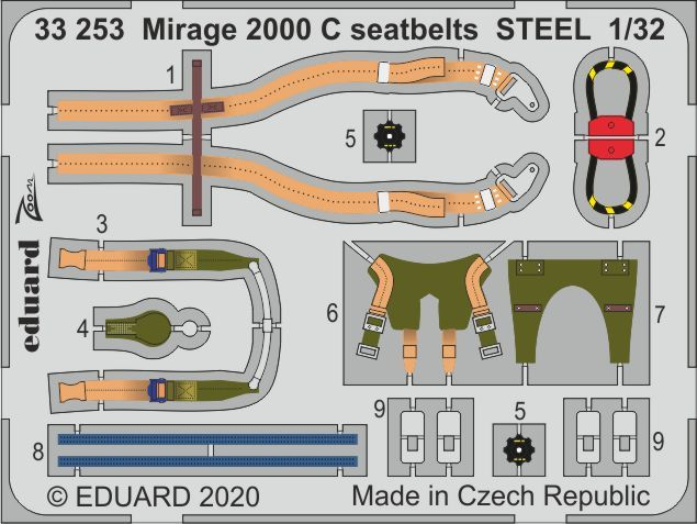 Eduard 1/32 Dassault Mirage 2000C Seatbelts STEEL Zoom Set # 33253