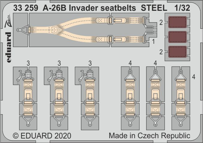 Eduard 1/32 Douglas A-26B Invader Seatbelts STEEL # 33259