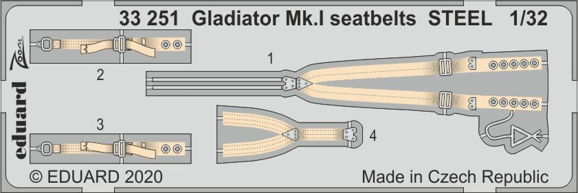Eduard 1/32 Gloster Gladiator Mk.I Seatbelts STEEL # 33251
