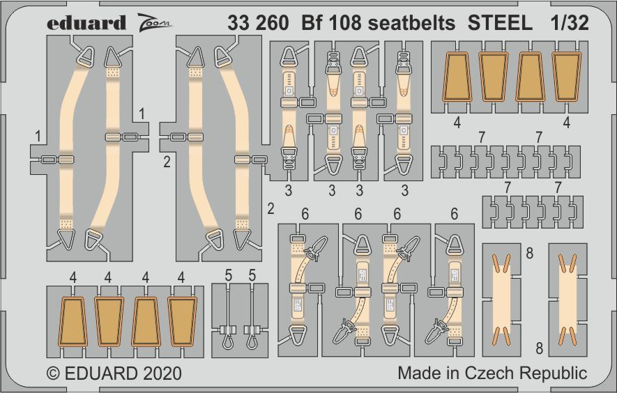Eduard 1/32 Messerschmitt Bf-108 Seatbelts STEEL # 33260