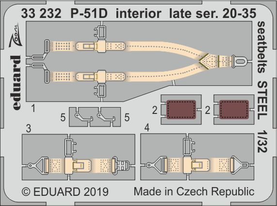 Eduard 1/32 North-American P-51D Mustang Interior Late Ser. 20-35 Seatbelts STEEL Zoom Set # 33232