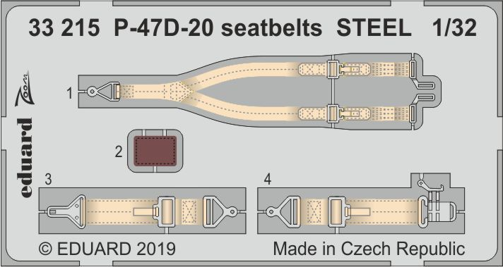 Eduard 1/32 Republic P-47D-20 Thunderbolt Seatbelts STEEL Zoom Set # 33215