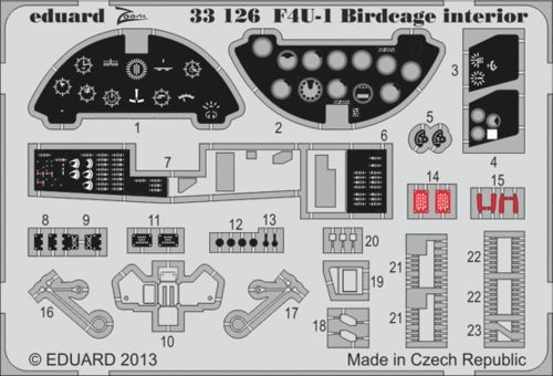 Eduard 1/32 Vought F4U-1 Corsair Bird Cage Birdcage Interior (self adhesive) # 33126