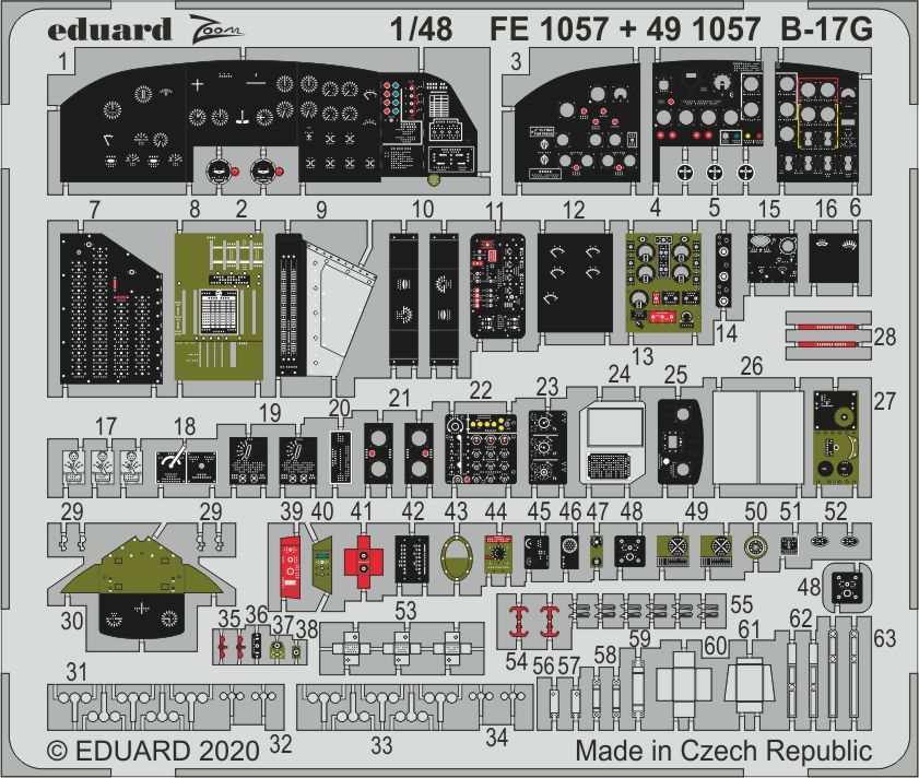 Eduard 1/48 Boeing B-17G Flying Fortress Zoom Set # FE1057