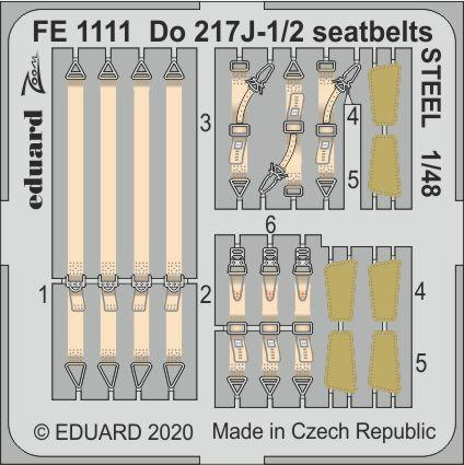 Eduard 1/48 Dornier Do-217J-1/2 Seatbelts STEEL Zoom Set # FE1111