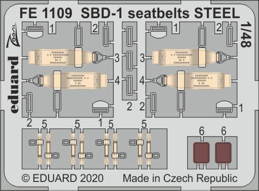Eduard 1/48 Douglas SBD-1 Dauntless Seatbelts STEEL Zoom Set # FE1109