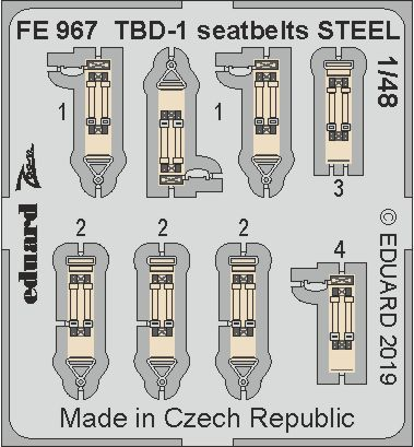 Eduard 1/48 Douglas TBD-1 Seatbelts STEEL # FE967