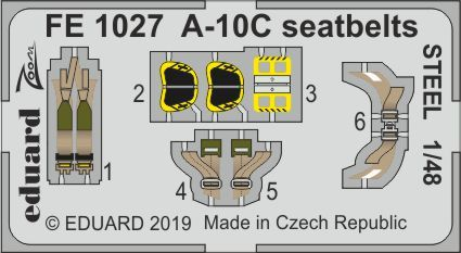 Eduard 1/48 Fairchild A-10C Seatbelts STEEL Zoom Set # FE1027
