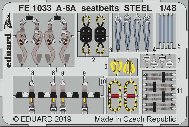 Eduard 1/48 Grumman A-6A Intruder Seatbelts STEEL Zoom Set # FE1033
