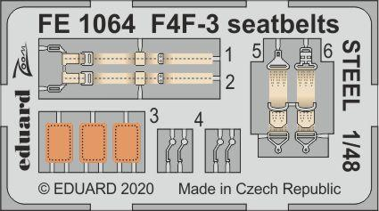 Eduard 1/48 Grumman F4F-3 Hellcat Seatbelts STEEL Zoom Set # FE1064