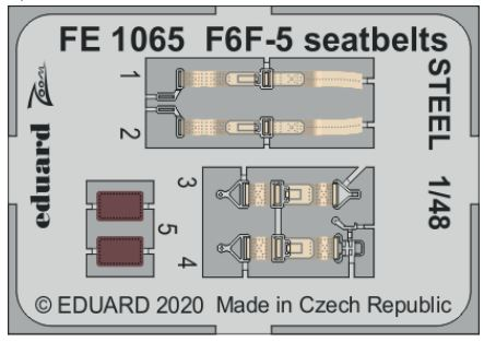 Eduard 1/48 Grumman F4F-5 Hellcat Seatbelts STEEL Zoom Set # FE1065