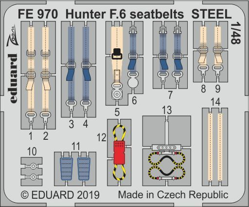 Eduard 1/48 Hawker Hunter F.6 Seatbelts STEEL Zoom Set # FE970